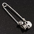Double Skull Safety Pin Brooch In Silver Metal - 6.5cm Length - view 4