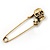 Double Skull Safety Pin Brooch In Burn Gold Metal - 6.5cm Length