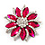 Magenta/Clear Diamante Floral Corsage Brooch In Silver Metal - 5.5cm Diameter - view 1