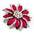 Magenta/Clear Diamante Floral Corsage Brooch In Silver Metal - 5.5cm Diameter - view 2