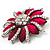 Magenta/Clear Diamante Floral Corsage Brooch In Silver Metal - 5.5cm Diameter - view 3