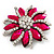 Magenta/Clear Diamante Floral Corsage Brooch In Silver Metal - 5.5cm Diameter - view 4