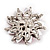 Magenta/Clear Diamante Floral Corsage Brooch In Silver Metal - 5.5cm Diameter - view 5