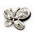Black/Clear Diamante Asymmetrical 'Butterfly' Brooch In Silver Finish - 4cm Length - view 3
