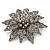 Victorian Style Black Diamante Flower Corsage Brooch In Gun Metal - 6.5cm Diameter - view 2