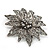 Victorian Style Black Diamante Flower Corsage Brooch In Gun Metal - 6.5cm Diameter - view 3