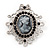 Silver Tone Black Diamante Filigree 'Cameo' Brooch - 5.5cm Length