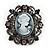 Gun Metal Black/Grey Diamante 'Cameo' Brooch - 4.5cm Length