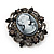 Gun Metal Black/Grey Diamante 'Cameo' Brooch - 4.5cm Length - view 2