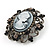 Gun Metal Black/Grey Diamante 'Cameo' Brooch - 4.5cm Length - view 3