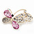 Asymmetrical Pink/Clear Diamante Butterfly Brooch In Gold Finish - 5cm Length - view 3