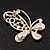 Asymmetrical Pink/Clear Diamante Butterfly Brooch In Gold Finish - 5cm Length - view 4