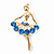 Elegant Blue Crystal Ballerina Brooch In Gold Plated Metal - 4.5cm Length