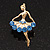 Elegant Blue Crystal Ballerina Brooch In Gold Plated Metal - 4.5cm Length - view 2