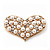 Gold Tone Faux Pearl Diamante 'Heart' Brooch - 4.5cm Length - view 1