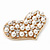 Gold Tone Faux Pearl Diamante 'Heart' Brooch - 4.5cm Length - view 4
