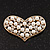 Gold Tone Faux Pearl Diamante 'Heart' Brooch - 4.5cm Length - view 2