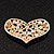 Gold Tone Faux Pearl Diamante 'Heart' Brooch - 4.5cm Length - view 3