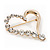 Gold Plated Open Crystal 'Heart' Brooch - 4cm Length - view 5