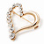 Gold Plated Open Crystal 'Heart' Brooch - 4cm Length - view 3