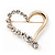 Gold Plated Open Crystal 'Heart' Brooch - 4cm Length - view 2