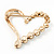 Gold Plated Open Crystal 'Heart' Brooch - 4cm Length - view 4