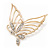 Gold Plated Diamante Open 'Butterfly' Brooch - 6.5cm Length
