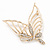 Gold Plated Diamante Open 'Butterfly' Brooch - 6.5cm Length - view 3