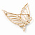 Gold Plated Diamante Open 'Butterfly' Brooch - 6.5cm Length - view 4