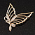 Gold Plated Diamante Open 'Butterfly' Brooch - 6.5cm Length - view 2