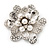 Bridal Clear Diamante White Peal 'Flower' Brooch In Silver Plating - 4.5cm Diameter - view 2