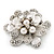 Bridal Clear Diamante White Peal 'Flower' Brooch In Silver Plating - 4.5cm Diameter - view 3
