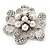 Bridal Clear Diamante White Peal 'Flower' Brooch In Silver Plating - 4.5cm Diameter - view 4