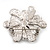Bridal Clear Diamante White Peal 'Flower' Brooch In Silver Plating - 4.5cm Diameter - view 5