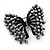 Ash Grey Faux Pearl Butterfly Brooch In Gun Metal Finish - 5cm Length - view 2