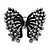 Ash Grey Faux Pearl Butterfly Brooch In Gun Metal Finish - 5cm Length - view 1