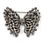 Ash Grey Faux Pearl Butterfly Brooch In Gun Metal Finish - 5cm Length - view 4