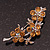 Swarovski Crystal Floral Brooch (Silver&Light Citrine) - 5.5cm Length - view 3