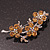 Swarovski Crystal Floral Brooch (Silver&Light Citrine) - 5.5cm Length - view 6