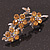 Swarovski Crystal Floral Brooch (Silver&Light Citrine) - 5.5cm Length - view 7