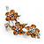 Swarovski Crystal Floral Brooch (Silver&Light Citrine) - 5.5cm Length - view 4