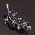 Swarovski Crystal Floral Brooch (Silver&Dark Blue) - 5.5cm Length - view 2