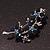 Swarovski Crystal Floral Brooch (Silver&Dark Blue) - 5.5cm Length - view 7