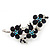 Swarovski Crystal Floral Brooch (Silver&Dark Blue) - 5.5cm Length - view 5
