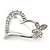 Open Diamante Heart&Butterfly Brooch In Rhodium Plated Metal - 4cm Length - view 4