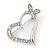 Open Diamante Heart&Butterfly Brooch In Rhodium Plated Metal - 4cm Length - view 2