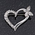 Open Diamante Heart&Butterfly Brooch In Rhodium Plated Metal - 4cm Length - view 5