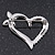 Open Diamante Heart&Butterfly Brooch In Rhodium Plated Metal - 4cm Length - view 6