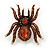 Large Smokey Topaz Coloured Crystal Spider Brooch In Antique Gold Finish - 6cm Length