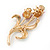 Pink Enamel Diamante 'Tulip' Brooch In Gold Finish - 5cm Length - view 3